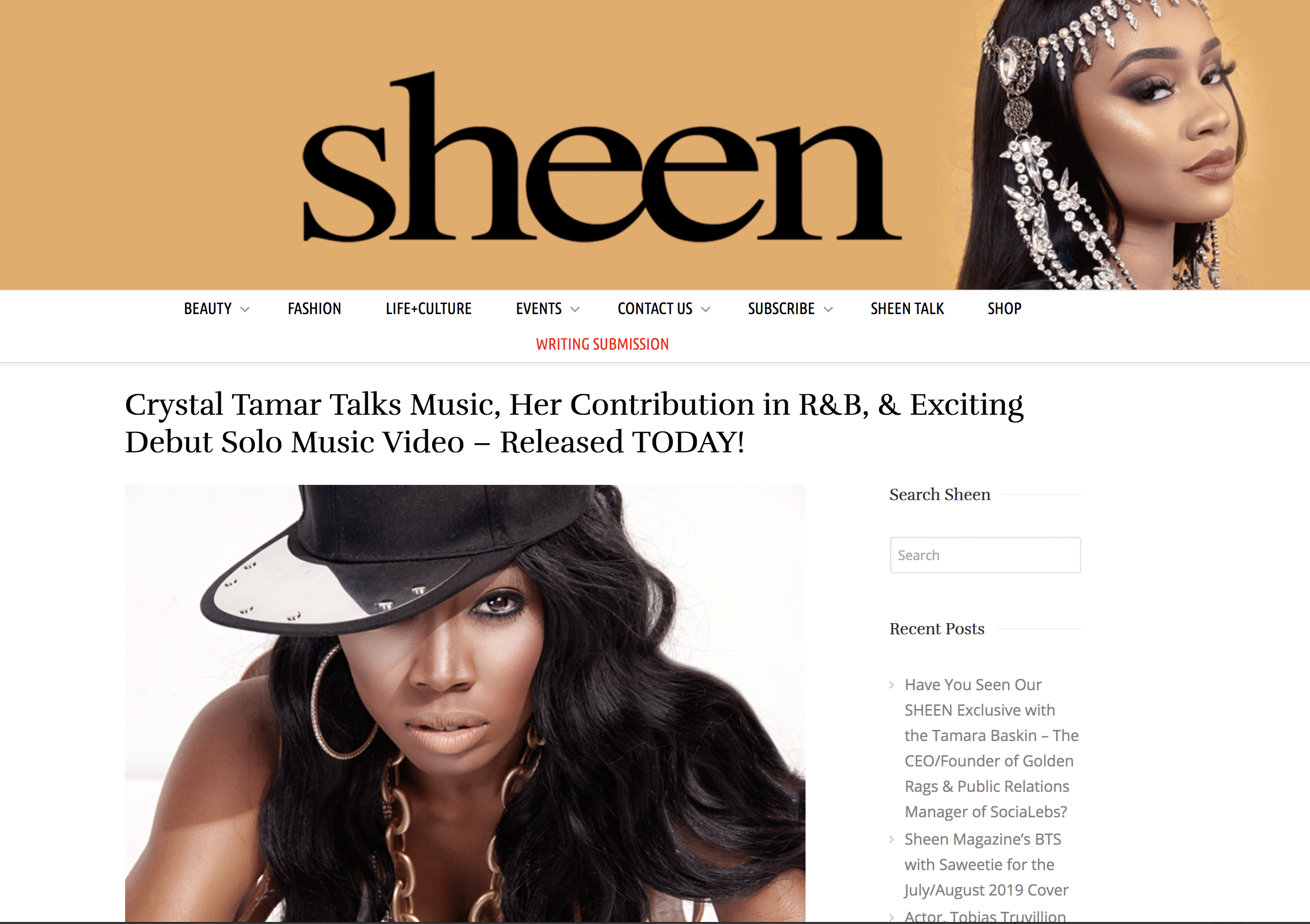 Sheen Magazine Interview Crystal Tamar