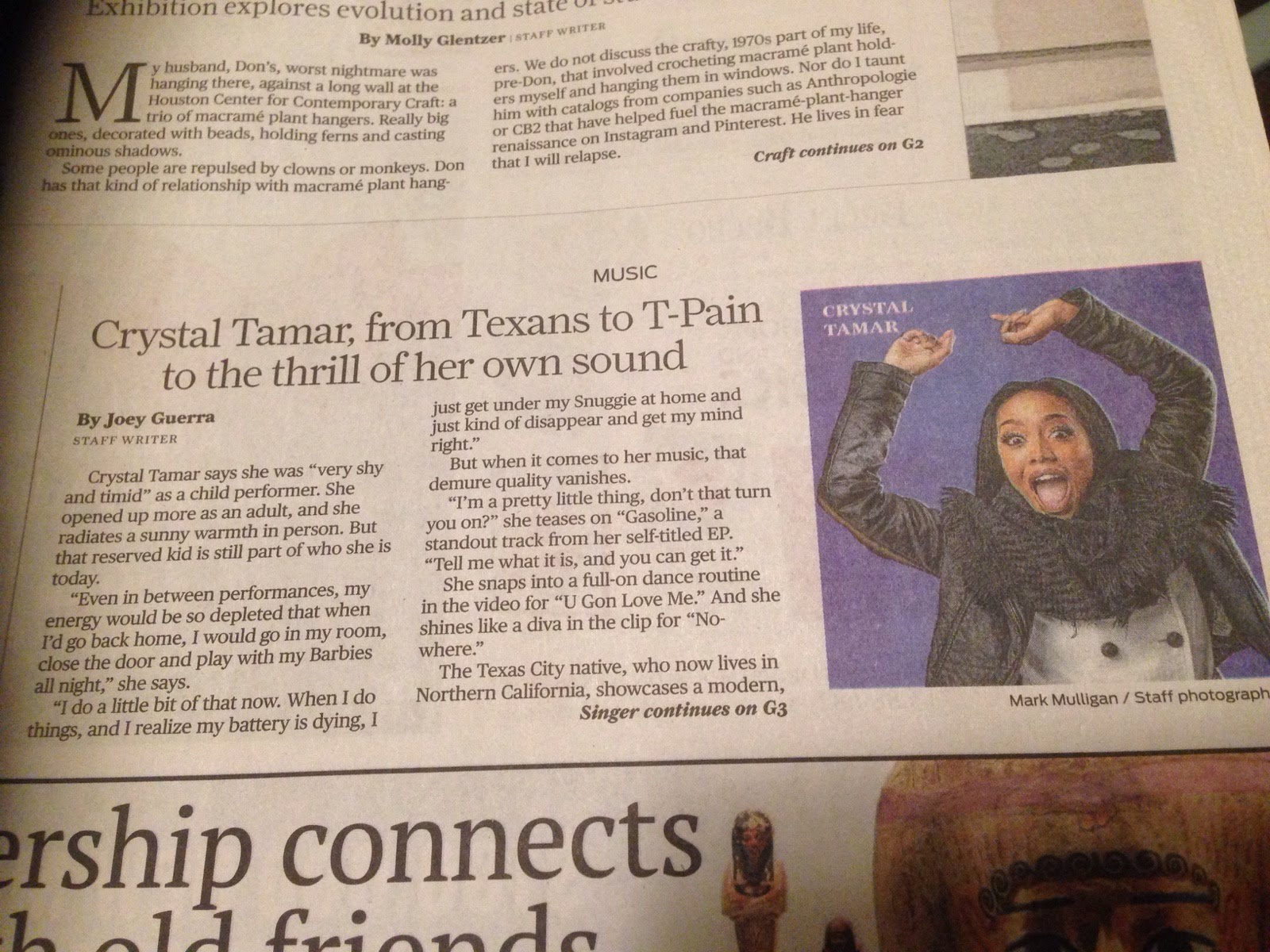 Crystal Tamar featured in the Houston Chronicle