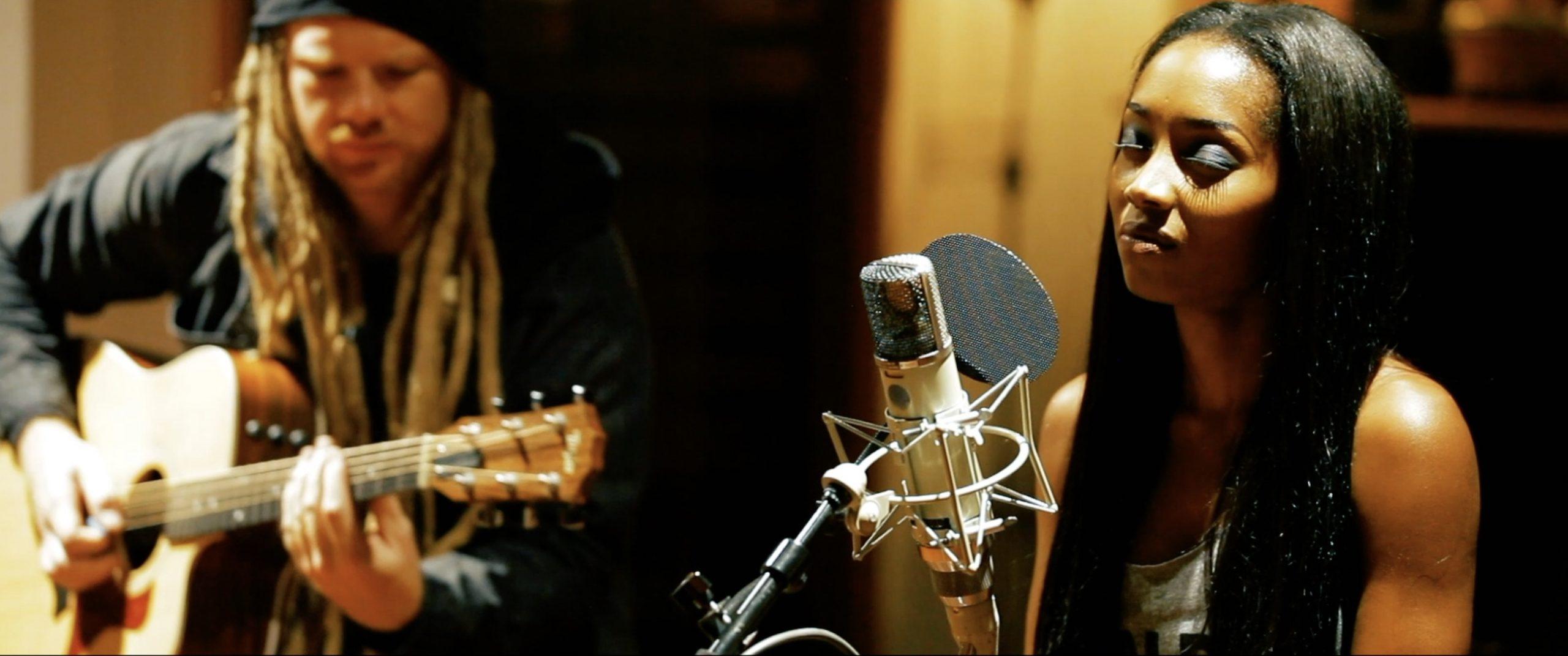 Crystal Tamar singing Serenade, accompanied on guitar by Ben Misterka