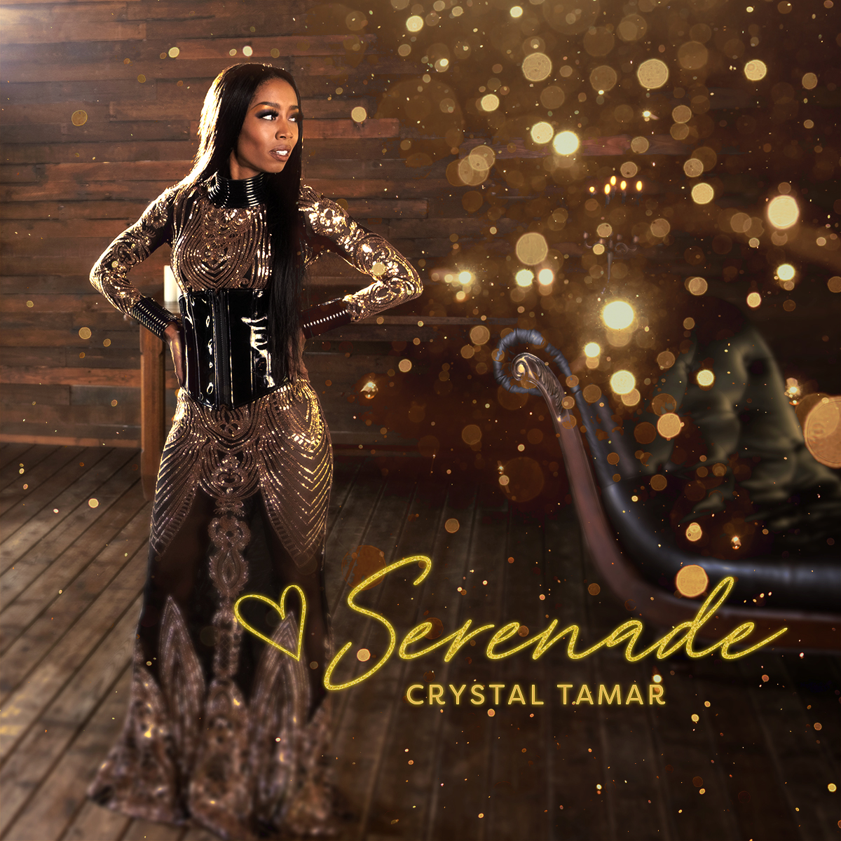 Album cover for Serenade, by Crystal Tamar. Crystal Tamar stands in front of a wood wall, wearing a gold dress and black corset as she stands with her hands on her hips. Crystal is smiling, looking over to her left.